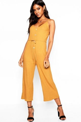 11d4b6f8a6d9 Mock Horn Button Strappy Rib Jumpsuit | Kalpa Music Video | Jumpsuit ...