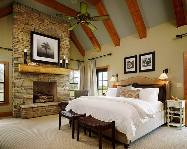 Ranch master bedroom ideas with stone wall decoration picture love how the ceiling beams stand Master bedroom ceiling beams
