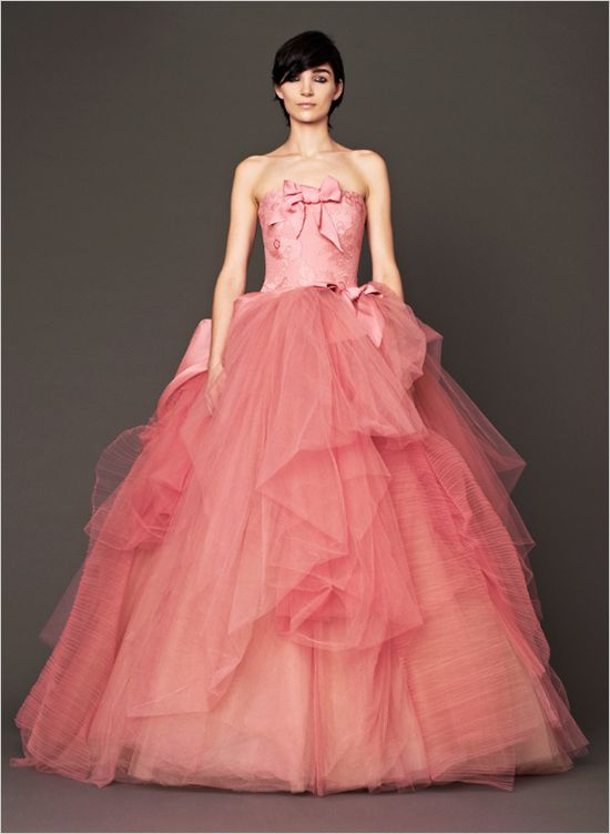 orse strapless silk ball gown with hand applique Chantilly lace - see all of the pink gowns http://www.weddingchicks.com/2013/11/12/vera-wang-pink-wedding-gowns/