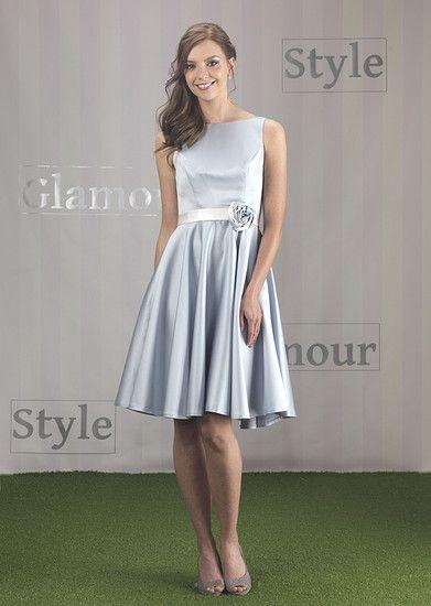 EN131   Satin Fifties Style Short Bridesmaid Dress