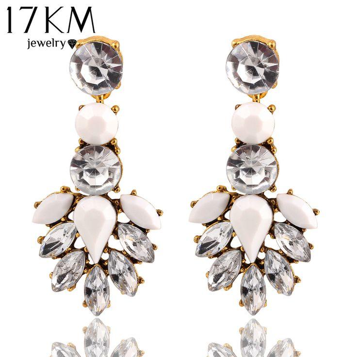 17KM Hot Sale High Quality Round White Crystal Acrylic Stud Earrings Irregular Geometric Figure Large Heavy Water Earrings Women