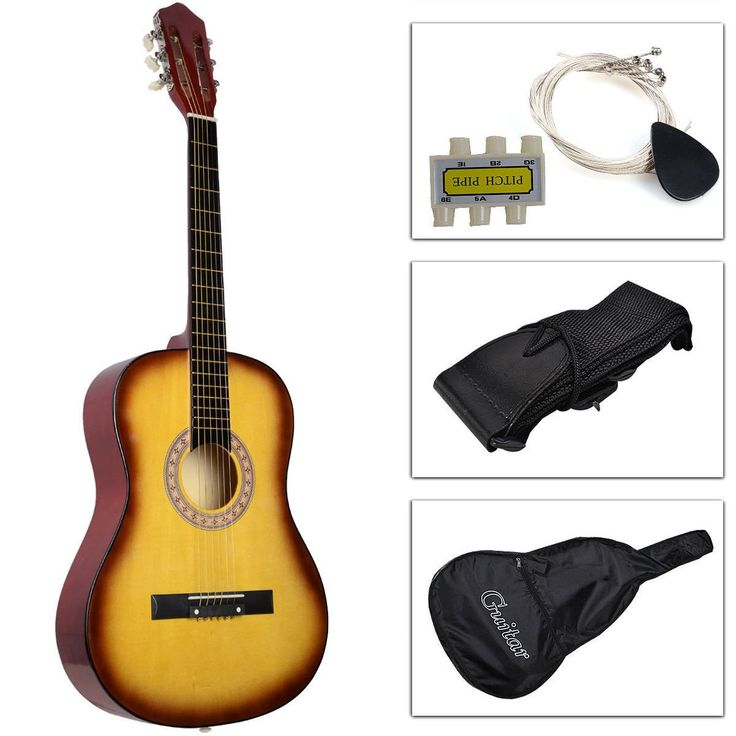 """Kseven 38"""" Beginners Acoustic Guitar 6 String with Pick, Practice Music Instrument, Starter kit Bundle Case Strap Tuner Extra Strings (Yellow). Brand New, High Quality and Gloss Finish. Length: 15.7"""" x 3.46"""" x 39.3"""" (L x W x H). Construction: All Wood Acoustic Guitar. Customized for Beginners, Easy to Use Tuner. Fashion, Creative, Great and Real Sound for All Beginners."""