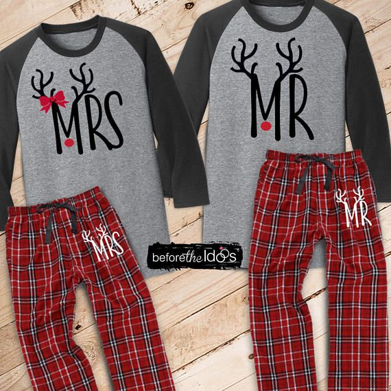 Mr. and Mrs. with Antlers Mr/Mrs on Pant Couple's Christmas PJ's /// #beforetheidos #mrandmrs #christmas