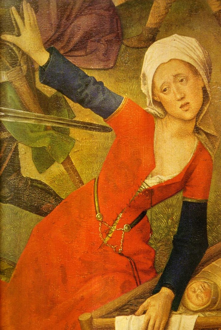 Hugo van der Goes, c. 1470  (Nikulin, p. 41)  Detail the Massacre of the Innocents.   Short sleeves, front laced, no visible waist seam. Note the v-neck back and rounded shift neckline in the detail of the other gown on this panel. Interestingly, she seems to have another layer under the false sleeve (visible at the wrist) and the false sleeve passes inside the short sleeve, that is, it is not pinned to the outside of her short sleeve as in other images of this style.