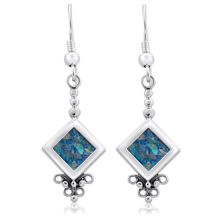 925 Sterling Silver and Roman Glass Size: 0.4