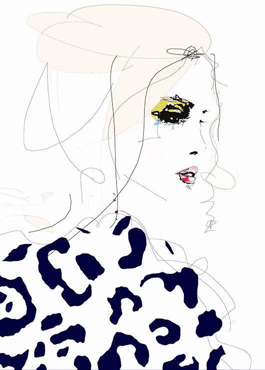 Draw the Line    Fashion Illustration Art Print por LeighViner