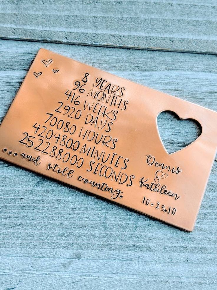 8th anniversary traditional bronze wallet card
