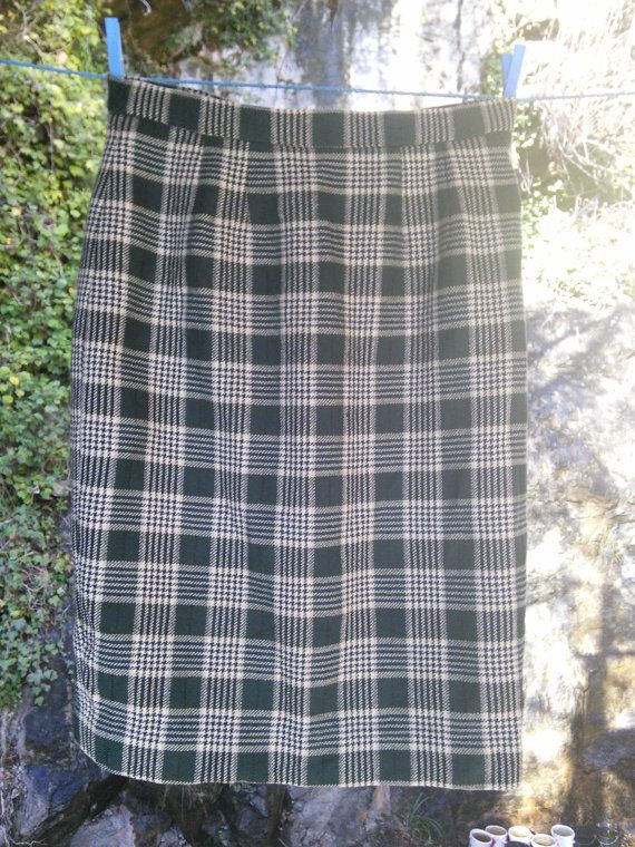 Tweed Tarten Skirt High Waist Pure Wool by FromParisToProvence