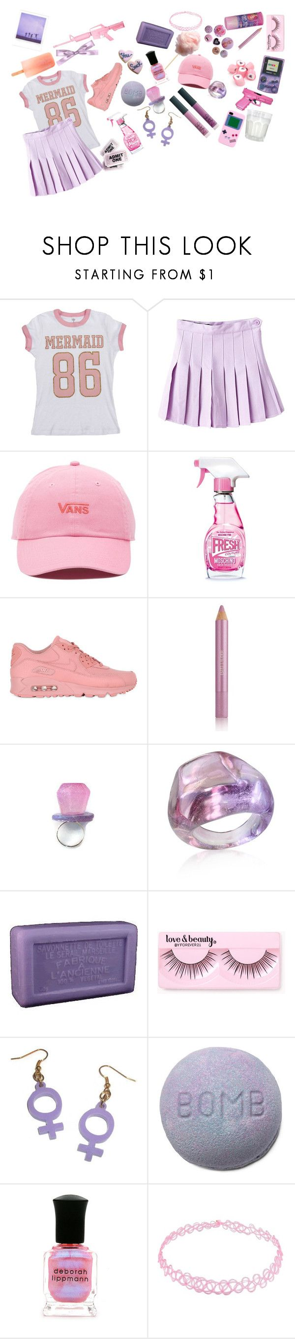 """""""Love dont live here anymore"""" by isobelle206 ❤ liked on Polyvore featuring Vans, Moschino, NIKE, Estée Lauder, Antica Murrina, Savon De Marseille, Forever 21, Deborah Lippmann and Hello Kitty"""