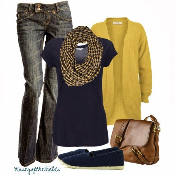 Casual Outfits | Gold and Navy