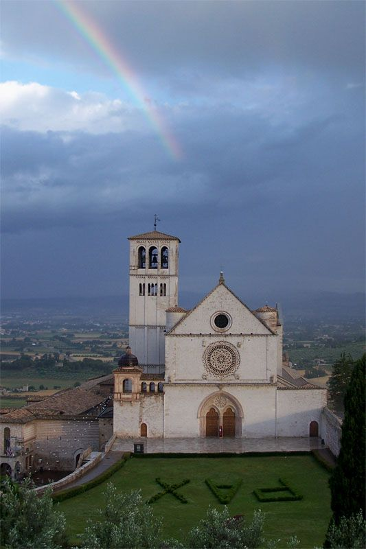 Papal Basilica of St. Francis of Assisi in Assisi, Italy which is the city where St. Francis was born and died.