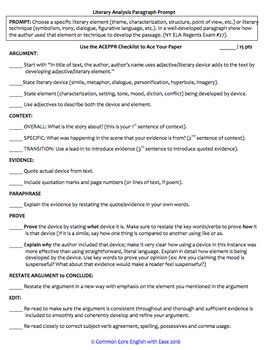 Literary Analysis Paragraph Writing Checklist Guide & Rubric FREE
