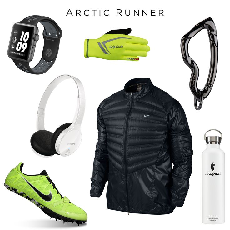 Arctic Runner: Gear to run through Antarctica and look cool as ice. // Clockwise: Apple Watch Nike+, Gloves by GripGrab, Arcus carabiner keychain by @svorndesign, Water bottle by Cotopaxi, Running jacket & Running Sneakers by NIKE, Headset by Phillips // #jogger #ice #gear #runner #winter #nike #apple #svorn #phillips #audio #gadget