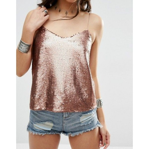 ASOS Sequin Cami Top (2990 RSD) ❤ liked on Polyvore featuring tops, sequin tanks, brown cami top, asos tops, sequin top and brown tank top