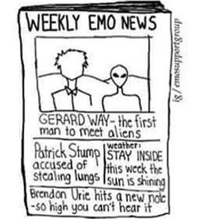 Weekly Emo News. Stay inside. It's too sunny.