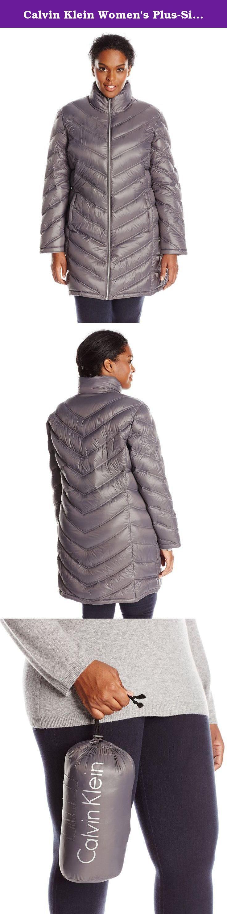 Calvin Klein Women's Plus-Size Chevron-Quilted Packable Down Coat Plus, Titanium, 3X. Lightweight packable down long with chevron quilting pattern plus size.