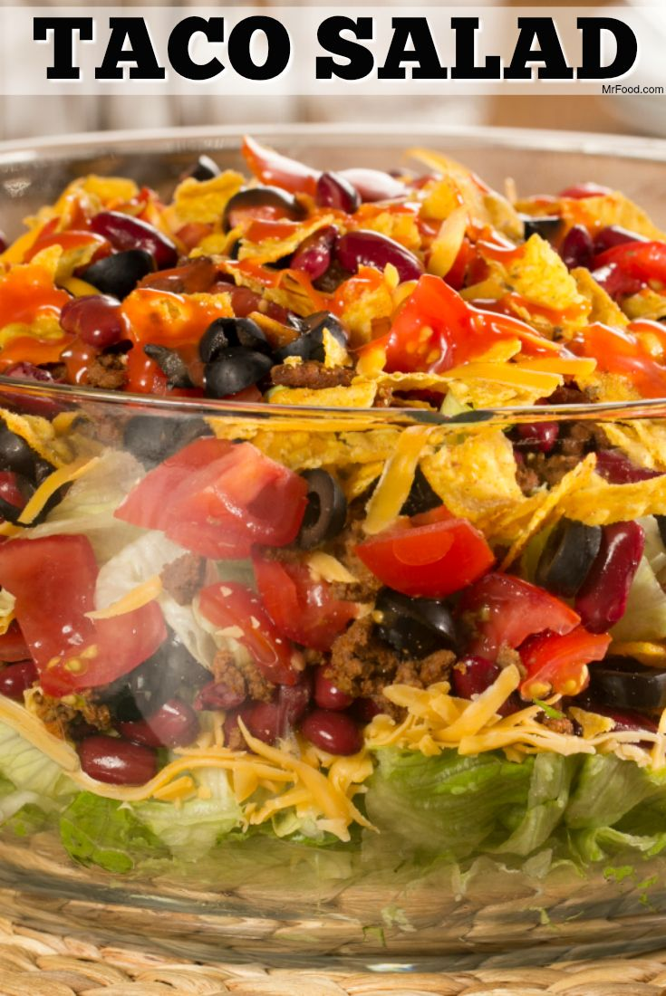 This layered taco salad is a reader-favorite. It's crunchy, cheesy, beefy, and delicious!