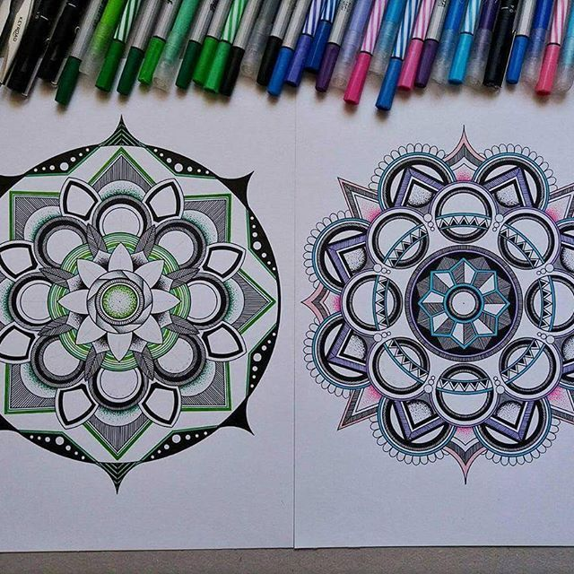 1 or 2?😁  💚💙💜💖  ✏  #mandala #color #zentangle  #drawing #mandalatattoo #green #creative #instadraw #photography #beautiful #love #artwork #mandalaart #beautiful_mandalas #mandalaplanet