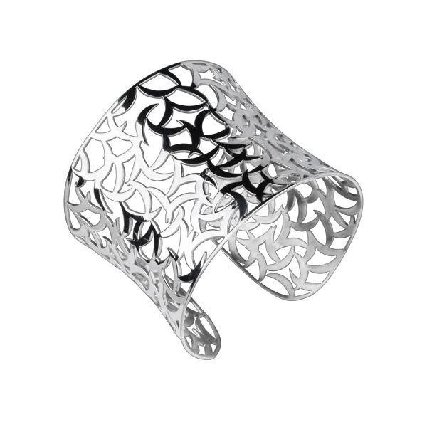 Open lace design Polished Stainless Steel Cuff Bracelet  - http://lily316.com.au/shop/banglescuffs/ladies-highly-polished-stainless-steel-cuff-bangleteel-cuffbangle/