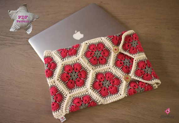 Crochet pattern Laptop / Macbook cover by Dimfies on Etsy - love the hexagons would look fantastic as a blanket!
