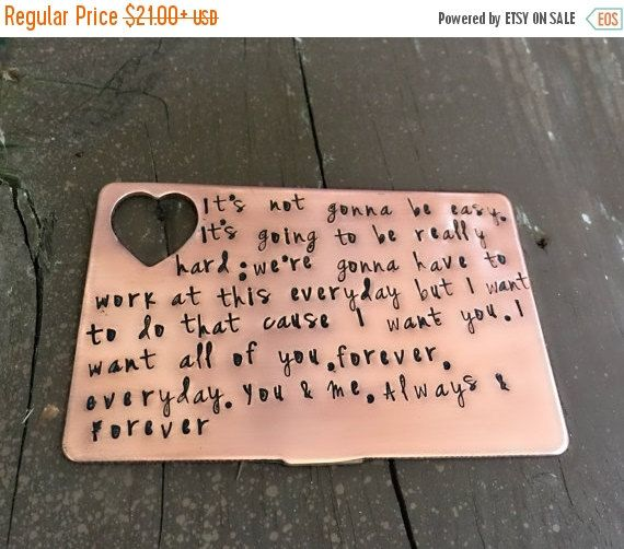 Copper Wallet Insert Hand Stamped Card Anniversary Gifts For Men Husband Boyfriend