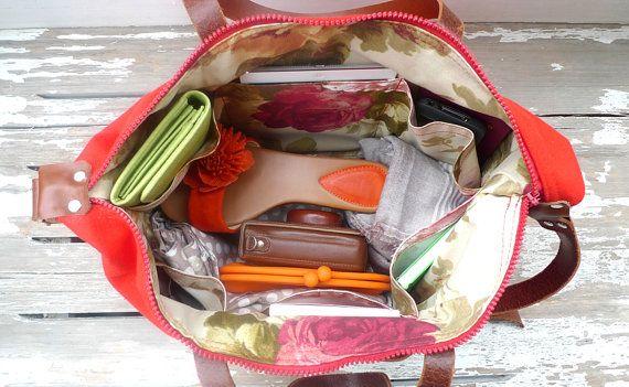 Rosso tela Weekender Bag borsa a tracolla di cuoio di ottobags