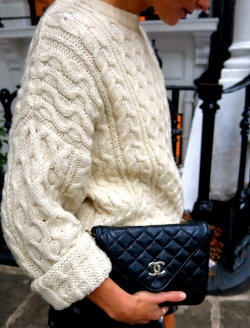 cable knit sweater inspiration, cream, crew neck, cuffed, easy, cozy, casual, fall, winter, layers, wool, warm, cuddly, details, fisherman style, quilted black leather purse from: stardustosequins