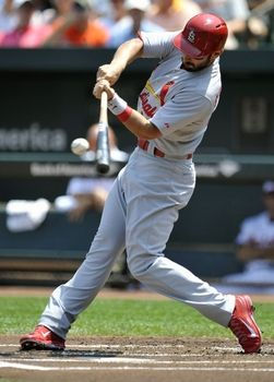 Designated hitter Matt Carpenter singles in the first inning against the Orioles. Cards won 8-3. 8-10-14