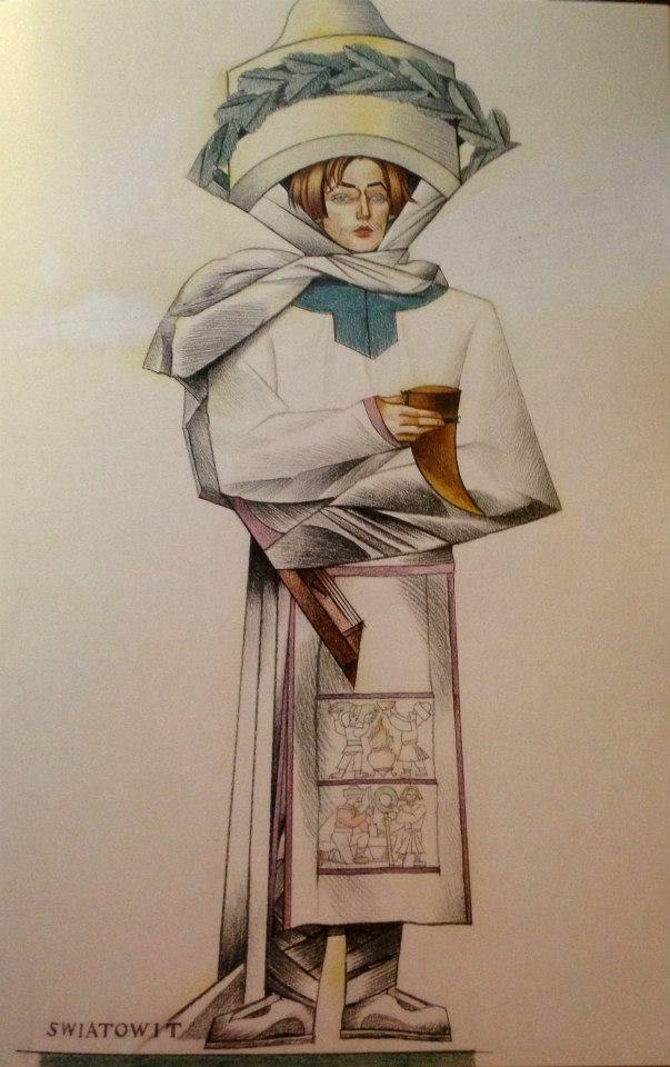 """Rysunek z teki """"Bożki słowiańskie"""" 1934, projekty do niezrealizowanej teki litograficznej, Muzeum Narodowe w Warszawie"""