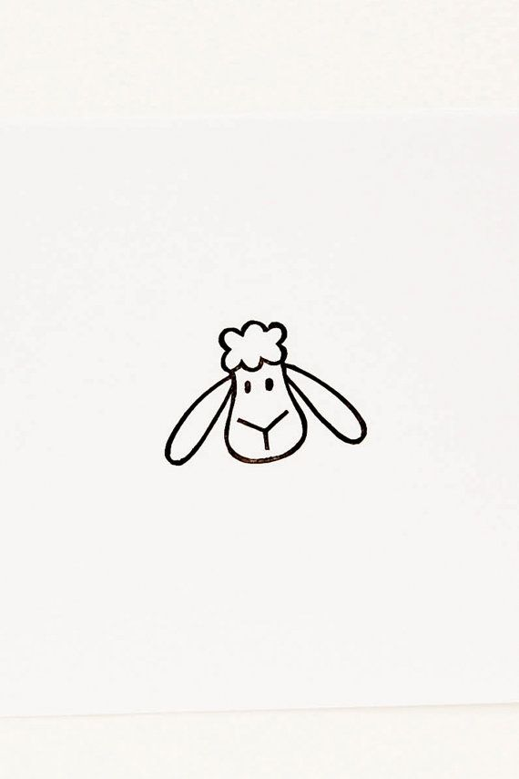 Cute sheep craft rubber stamp - Funny sheep rubber stamp - Farm anumal cute stationary - Sweet lamb peekaboo stamp for diy stationary