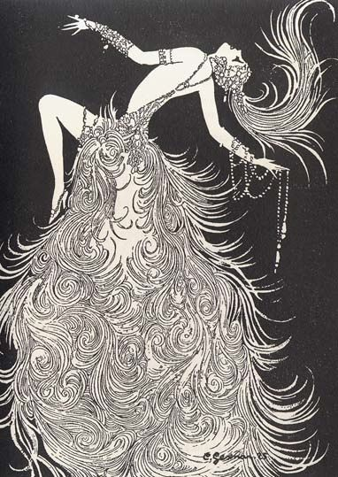 Art deco sketch by Gesmar of showgirl, 1926