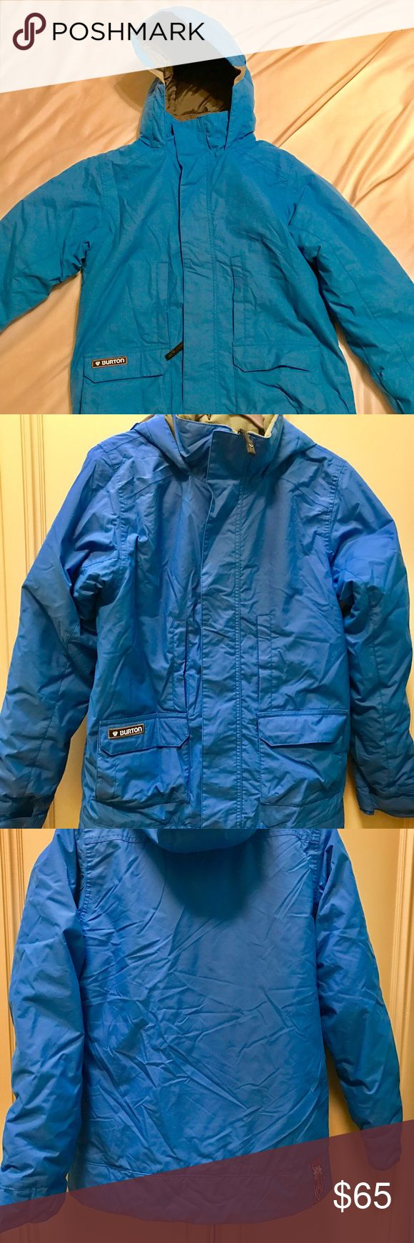 Burton Ski jacket Burton brand; The White Collection Aqua blue waterproof ski jacket; excellent condition; rarely worn;  all zippers and snaps work perfectly Burton Jackets & Coats