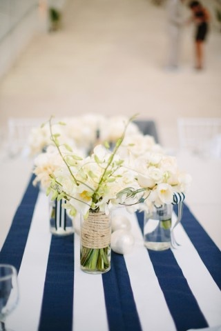White Weddingbee Runners  and Michigan  Navy table pinterest runner Nautical Stripe   Table