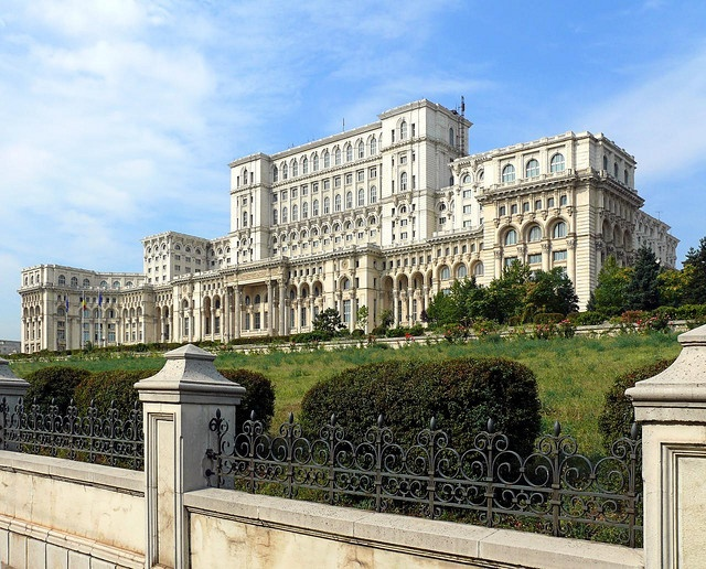 The People's Parliamont Palace. Had my student ID so got to go in here for free (Bucharest, Romania)