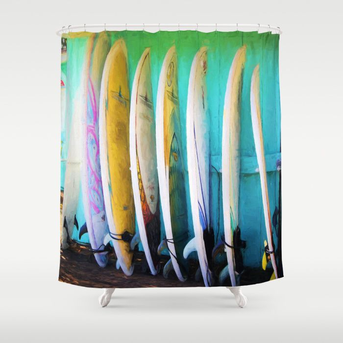 Surfboards Shower Curtain Homedecor Hawaii Showercurtain