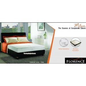 Florence MILAN Latex Spring Bed      Latex Collection Series     tinggi/tebal kasur : 23 cm     sandaran : Colloseum tinggi 118 cm     Divan bawah : 24 cm     Comfort Level : FIRM http://klikfurniture.com/florence-spring-bed/2869-florence-milan-latex-spring-bed.html