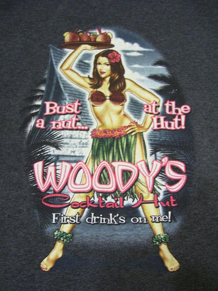 Woody's Cocktail Hut T-Shirt Sexy Hula Girl Hawaii Grass Skirt Coconut Bra Large…