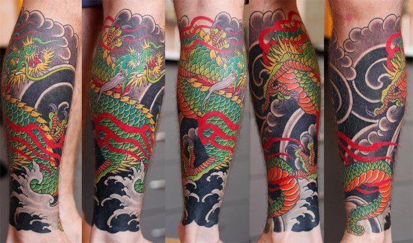 green japaneese dragon  by Mihai