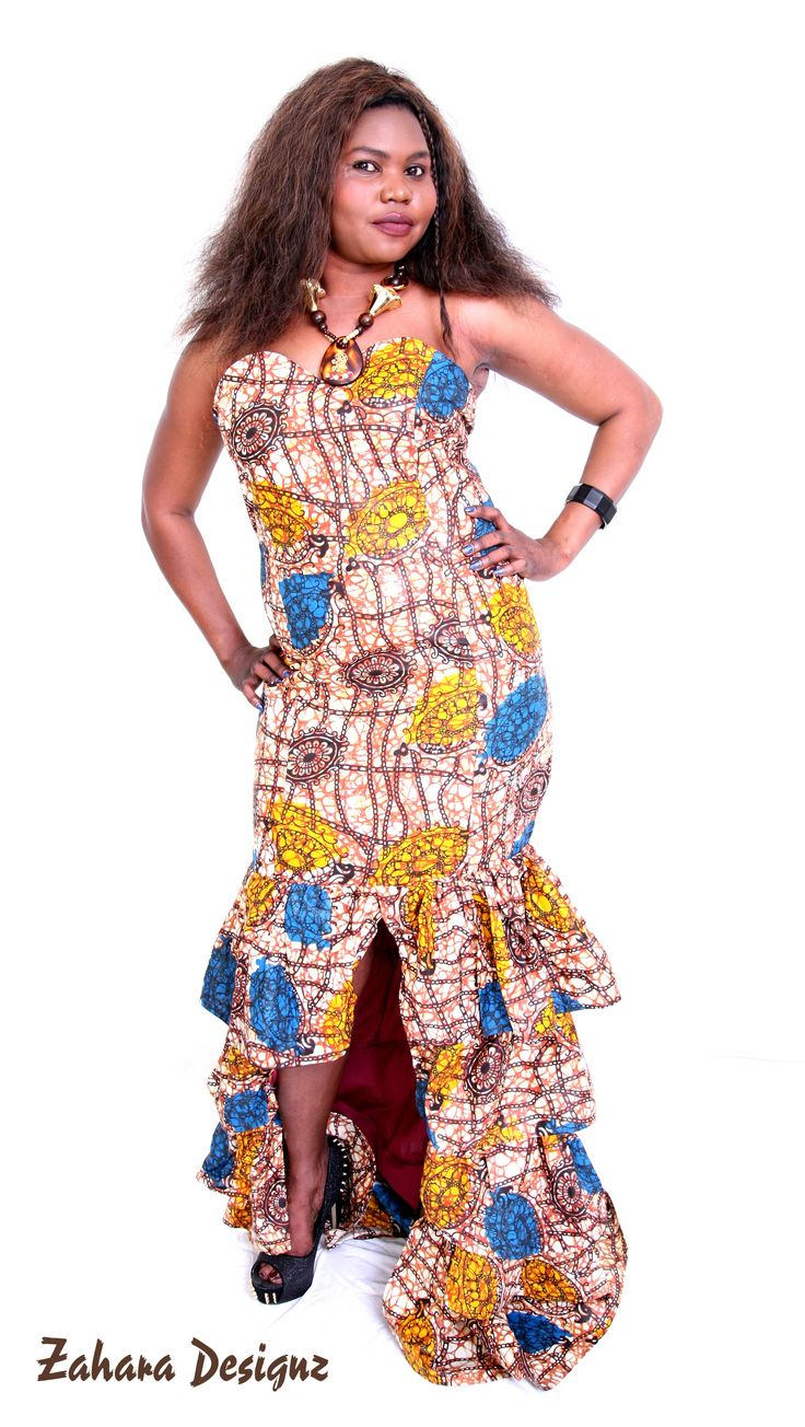 Evening long African print dress. This dress has a tail behind it to give the dress more edge.