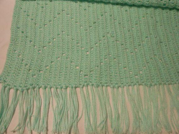 Crochet Baby Blanket Mint Zig Zag Pattern via Etsy