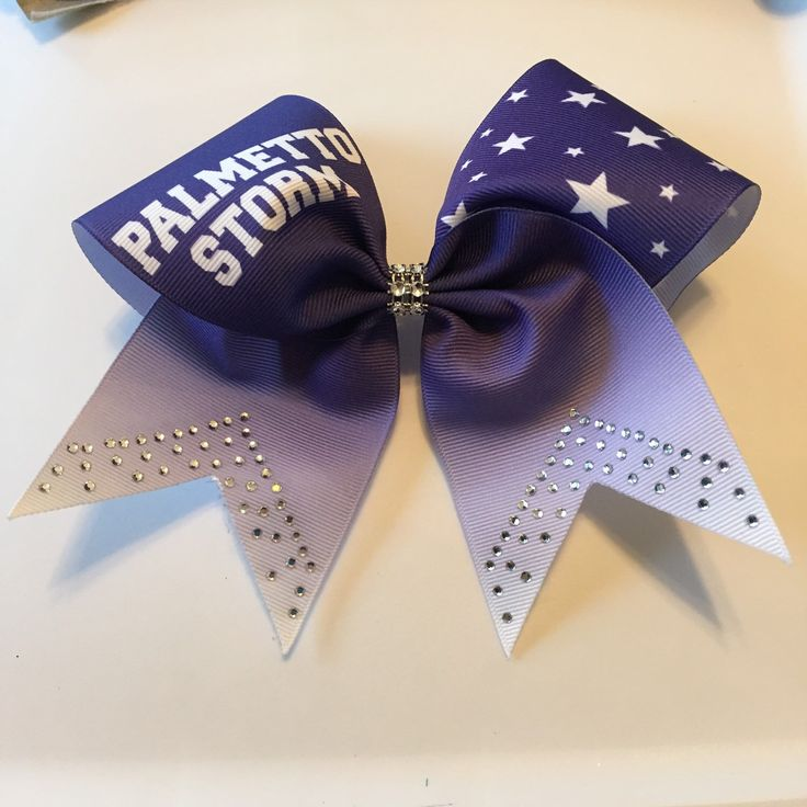 A personal favorite from my Etsy shop https://www.etsy.com/listing/257586111/custom-team-name-bling-cheer-bow