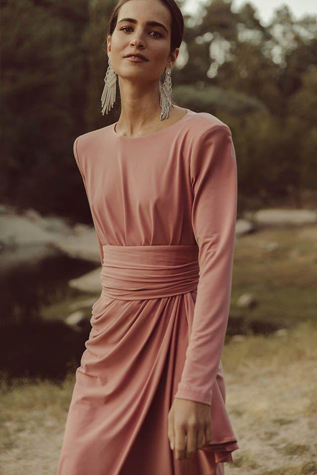 vestido invitada fiesta boda otoño invierno largo corto mono colour nude 638cbadc0d38
