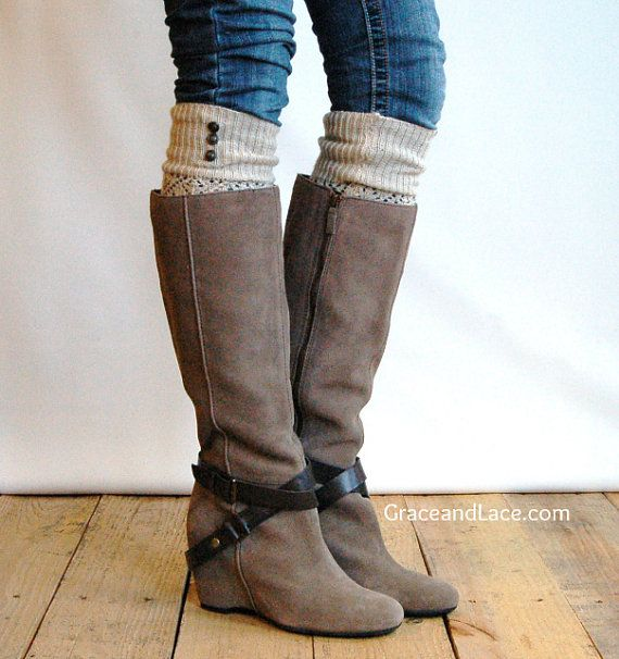 LouLou - Natural: Open-work Leg warmers with Rubbed Bronze Metal Buttons - Legwarmers boot socks (item no. 9-14) on Etsy, $26.00