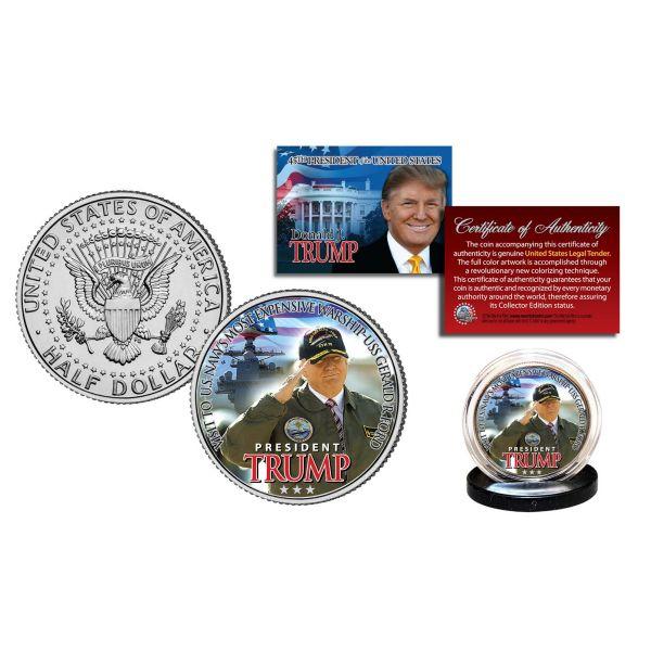 DONALD J. TRUMP Aboard the USS GERALD R. FORD Official JFK Kennedy Half Dollar U.S. Coin Navy Warship