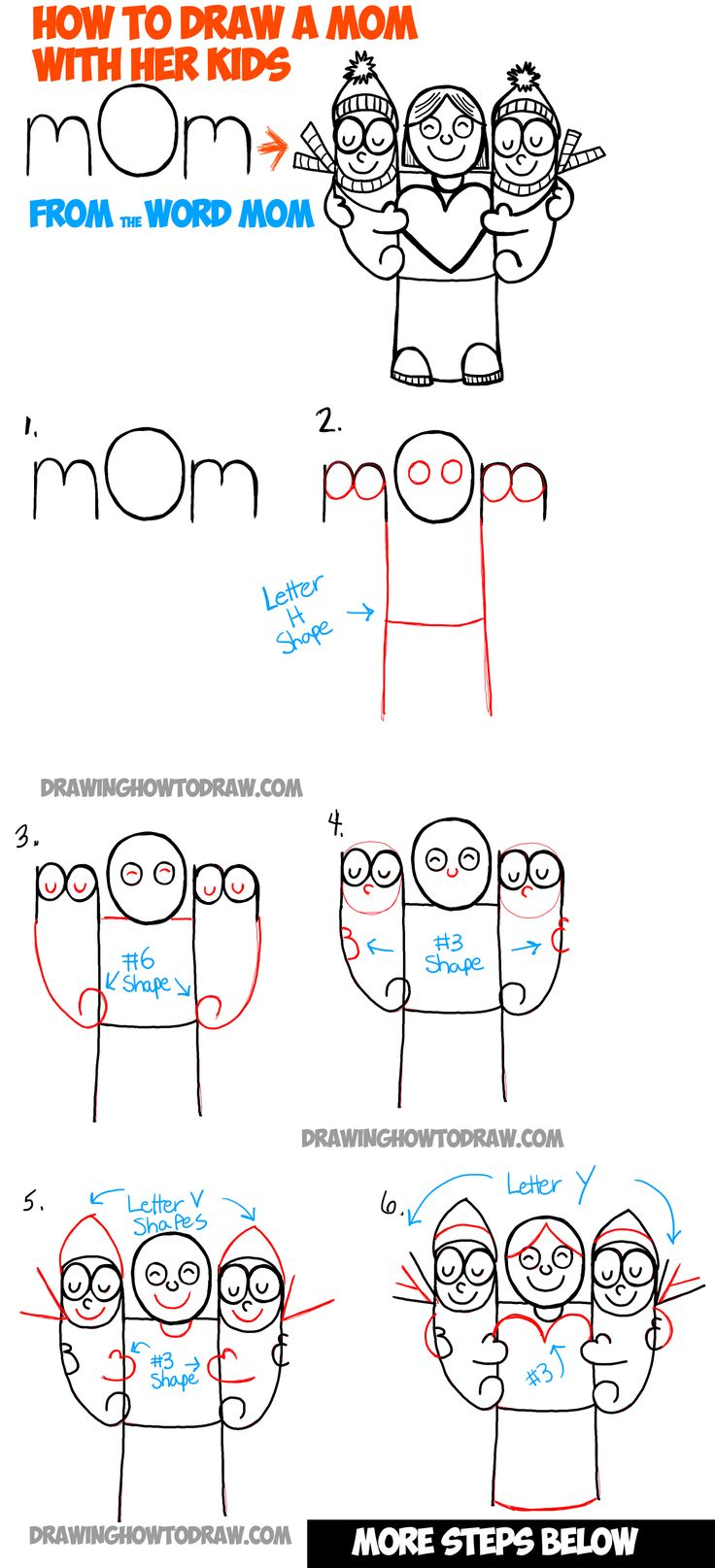 how to draw cartoon mom and kids from the word mom simple step