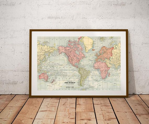 Mejores 89 imgenes de maps vintage mapstiqued world map world map world map printp digital printntage world map poster gumiabroncs Choice Image
