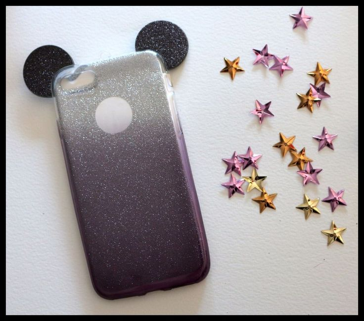 Coque Rigide Mickey Minnie noir Paillette strass iPhone 7 + plus black girly