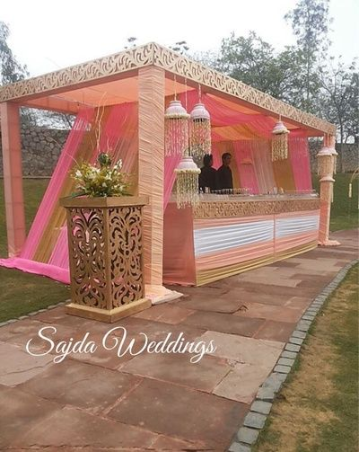 pastel peach pink and white bar decor , outdoor bar for engagement, morning wedding, soft, girly, pretty, pastel, modern, gold white and pink with peach accents