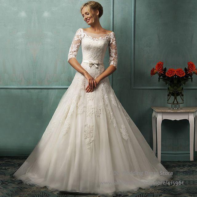 Robe mariage Romantische Ballkleid Spitze Brautkleider Open Back Hochzeit Kleid Mit Halbarm Tüll Trouwjurken W2883