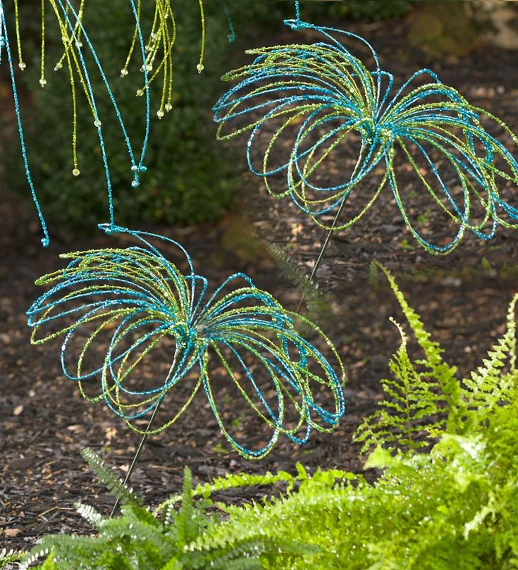 Handmade Beaded Glass Garden Stake With Bells from the Plow & Hearth website